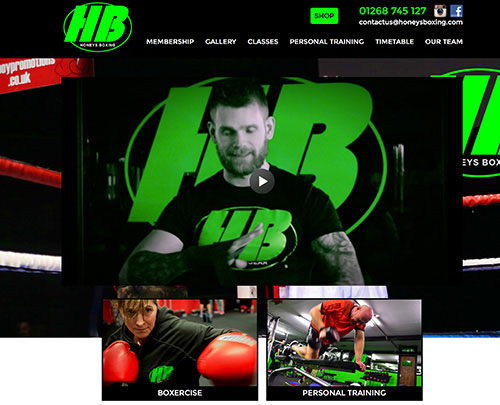 Paperback Designs Website Portfolio - Honeys Boxing Rayleigh